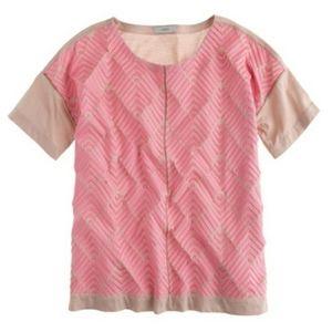 J Crew Pink Herringbone Embroidered Tshirt Top